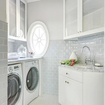 Laundry Room With Blue Subway Tiles Blue Subway Tile Laundry