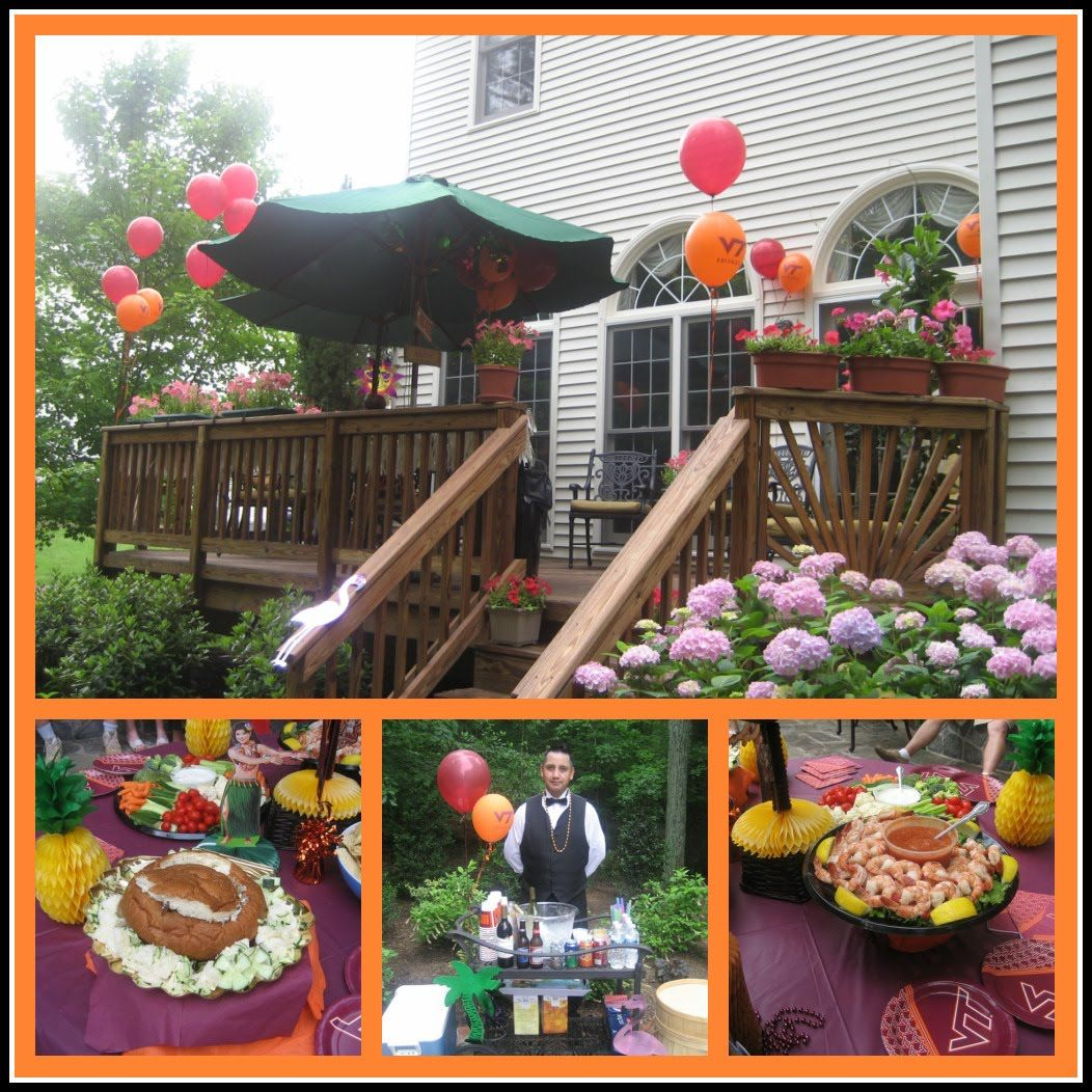 Graduation party food showcase hokie luau for Outdoor decorating ideas for graduation party
