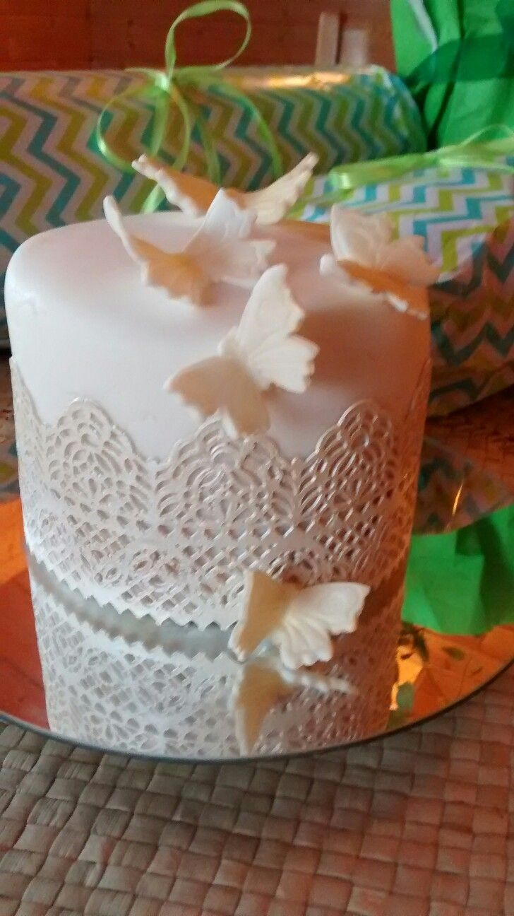 A Tiny Birthday Cake With Simple Butterflies And Sugar Lace Cakes