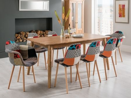 Scandi oak table with Eames patchwork dining chairs. FADS.co.uk ...