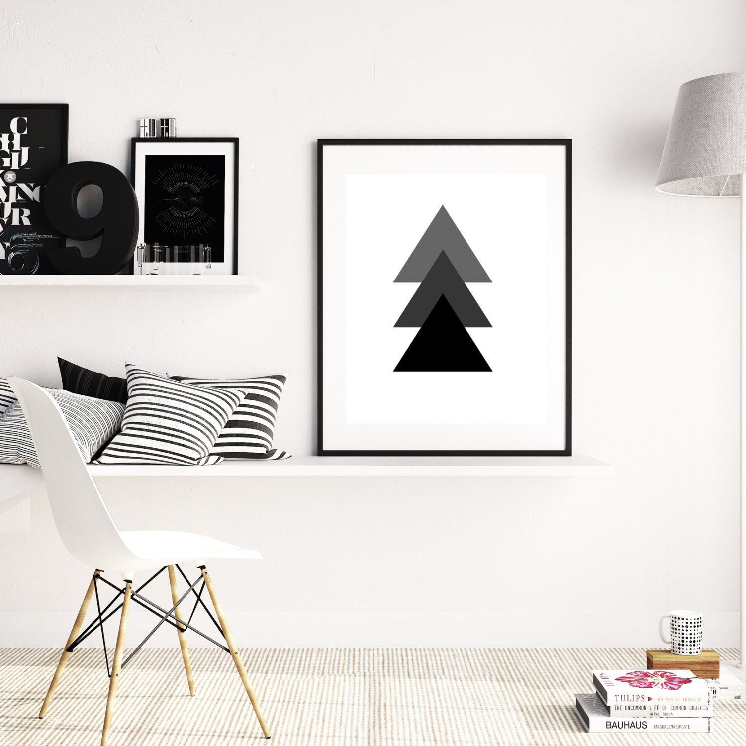 Black white triangle print geometric print triangle wall art