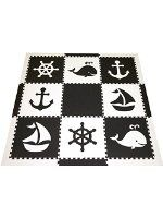 Softtiles Nautical Ocean Theme Kids Interlocking Foam Play Mats Black And White Large 2 Floor Tiles 78 X 6 5