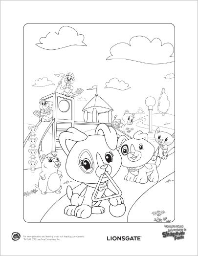 adventures in shapeville park coloring page scout and violet build a playground from shapes