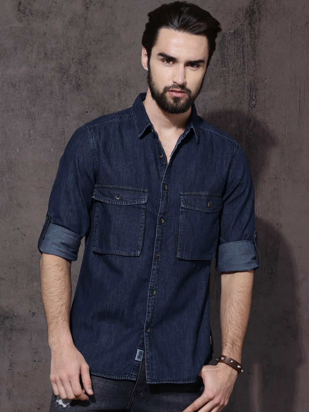 5c649fa1c Roadster Blue Regular Fit Solid Casual Denim Shirt  Blue Cotton Denim  Solid Slimfit Casual
