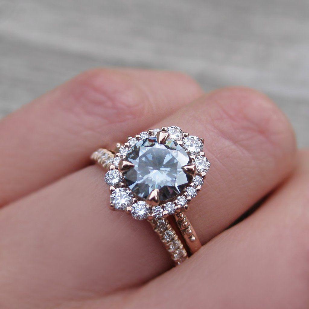 Dark Grey Moissanite Engagement Ring & Diamond Halo (16ct)  Kristin  Coffin Jewelry