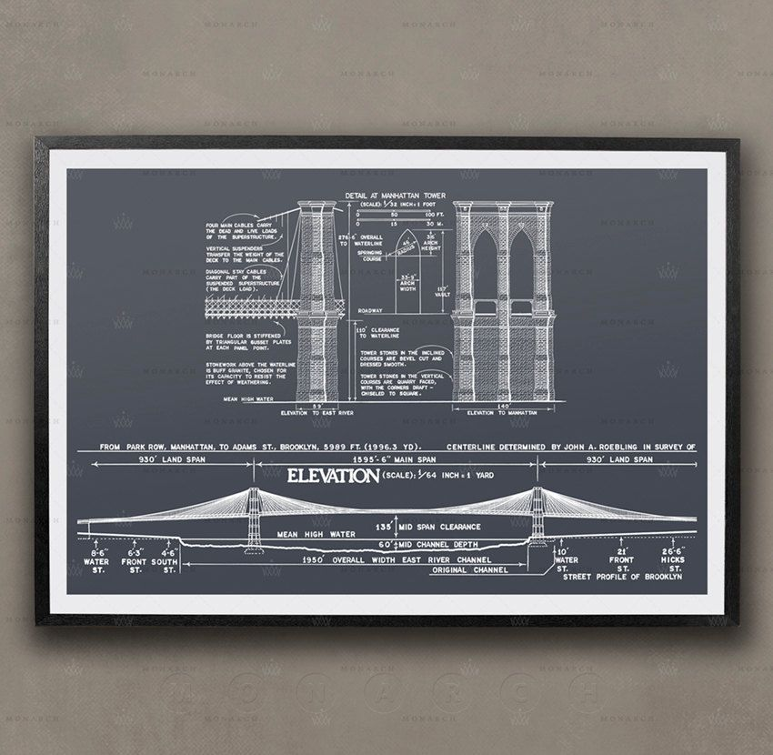 Brooklyn bridge blueprint new york city architecture brooklyn brooklyn bridge blueprint new york city architecture brooklyn bridge elevations brooklyn bridge plans architecture print blueprints malvernweather Images