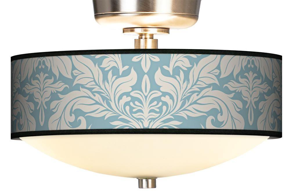 Ivory/Blue Tapestry Giclee Energy Efficient Fan Light Kit | LampsPlus.com