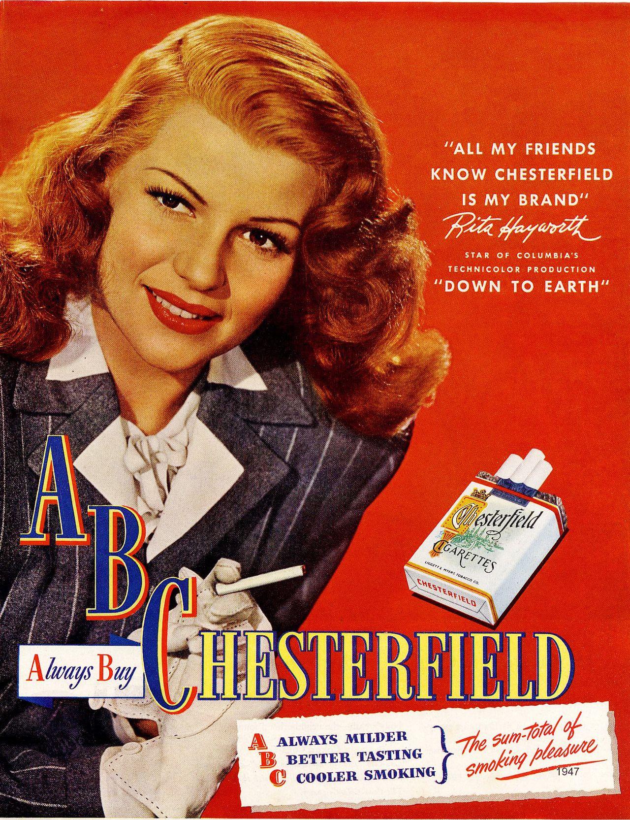 b2c4dbcf Chesterfield cigarettes ads | vintage cigarette posters | Vintage ...