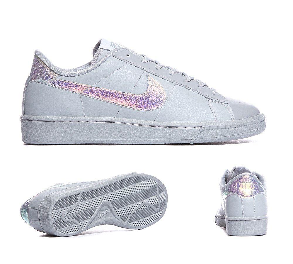 Nike Womens Tennis Classic Premium Trainer | Iridescent White / White |  Footasylum