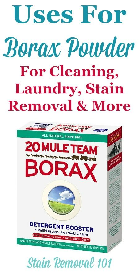 Article, plus round up of uses for Borax powder around your home, for cleaning, laundry, stain removal, odor control, as an ingredient in homemade cleaner ...