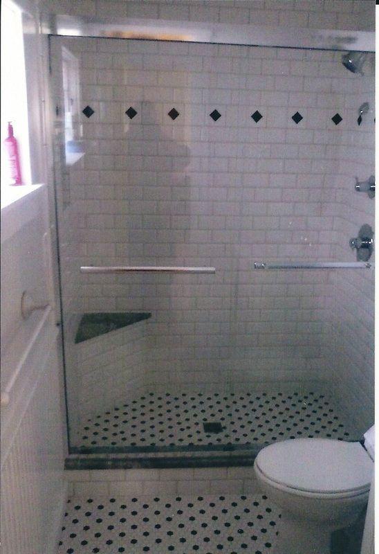 Retro Black Amp White Tiled Shower With White Subway Tiles