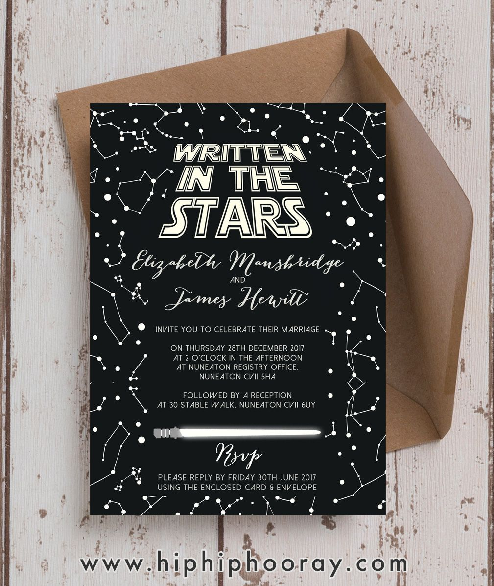Amazing star wars themed inspired wedding invitations invites
