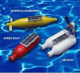 Solar powered boats DIY recycle bottles Solarkids