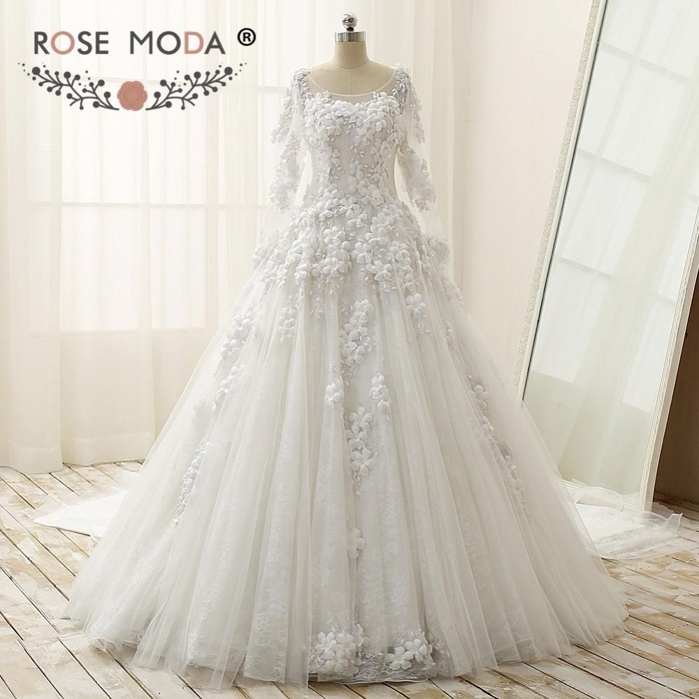 Rose Moda Luxury Long Sleeves Ball Gown With Royal Train Vintage
