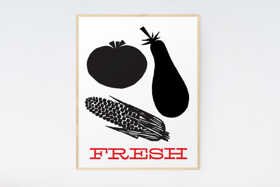 Printable Kitchen Art - Digital Download - Tomato, Eggplant \ Corn - fresh blueprint 3 free download