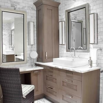 brown painted cabinets, transitional, bathroom, design