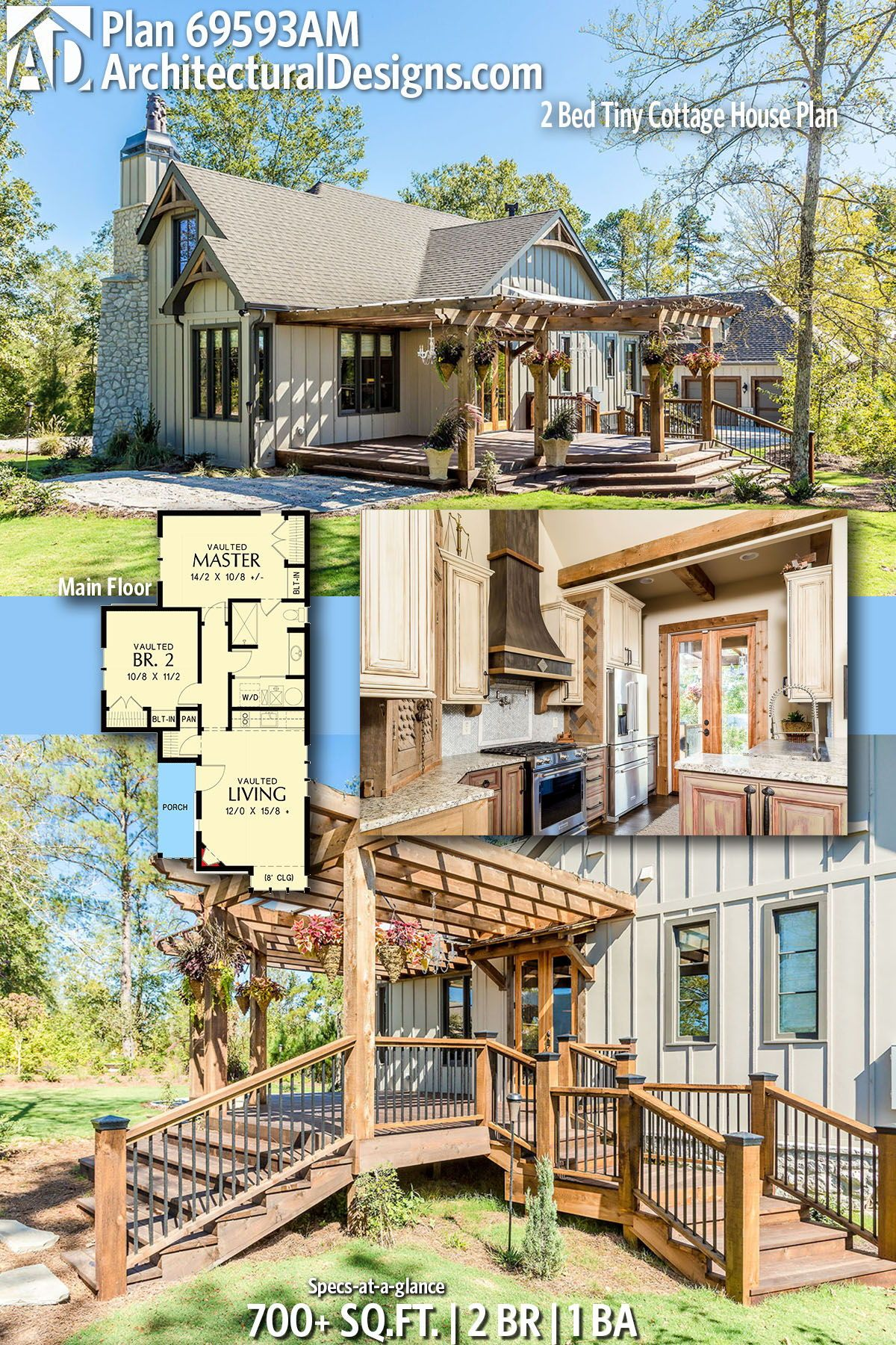 Plan 69593am 2 Bed Tiny Cottage House Plan House Plans Cottage House Plans Cottage Homes