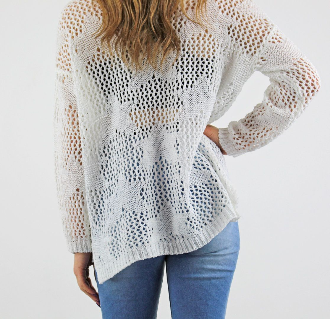White Star Pattern Open Sheer Crochet Long Sleeve Jumper | Jumpers ...