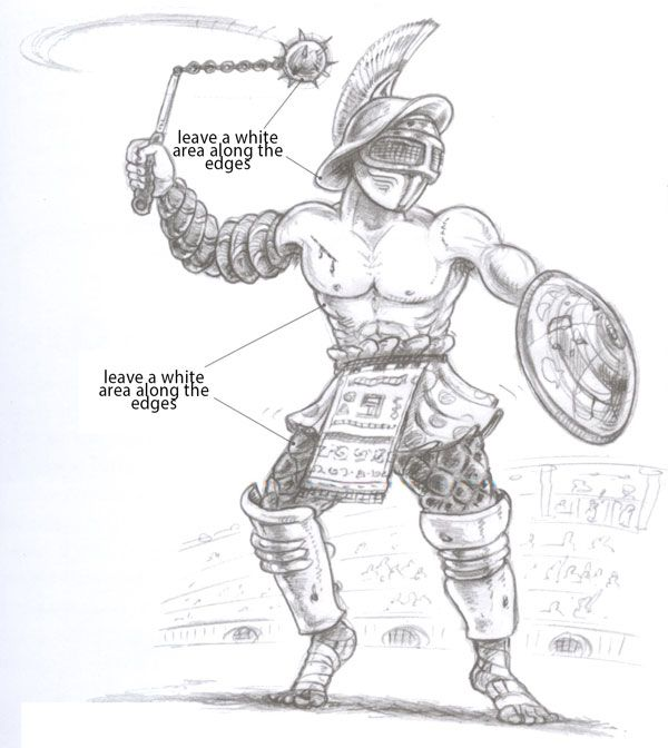 how to draw a gladiator