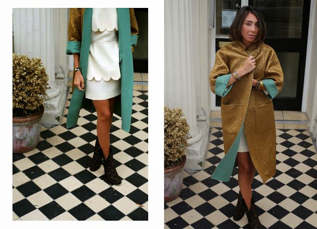 boots Laurence Dacade, coat Rochas, dress Tata Naka, bracelets George Bezani, Lele Sadoughi & LeiVanKash