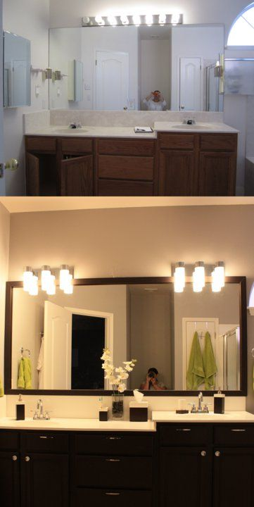 Master bath before after Removed the medicine cabinets, painted the