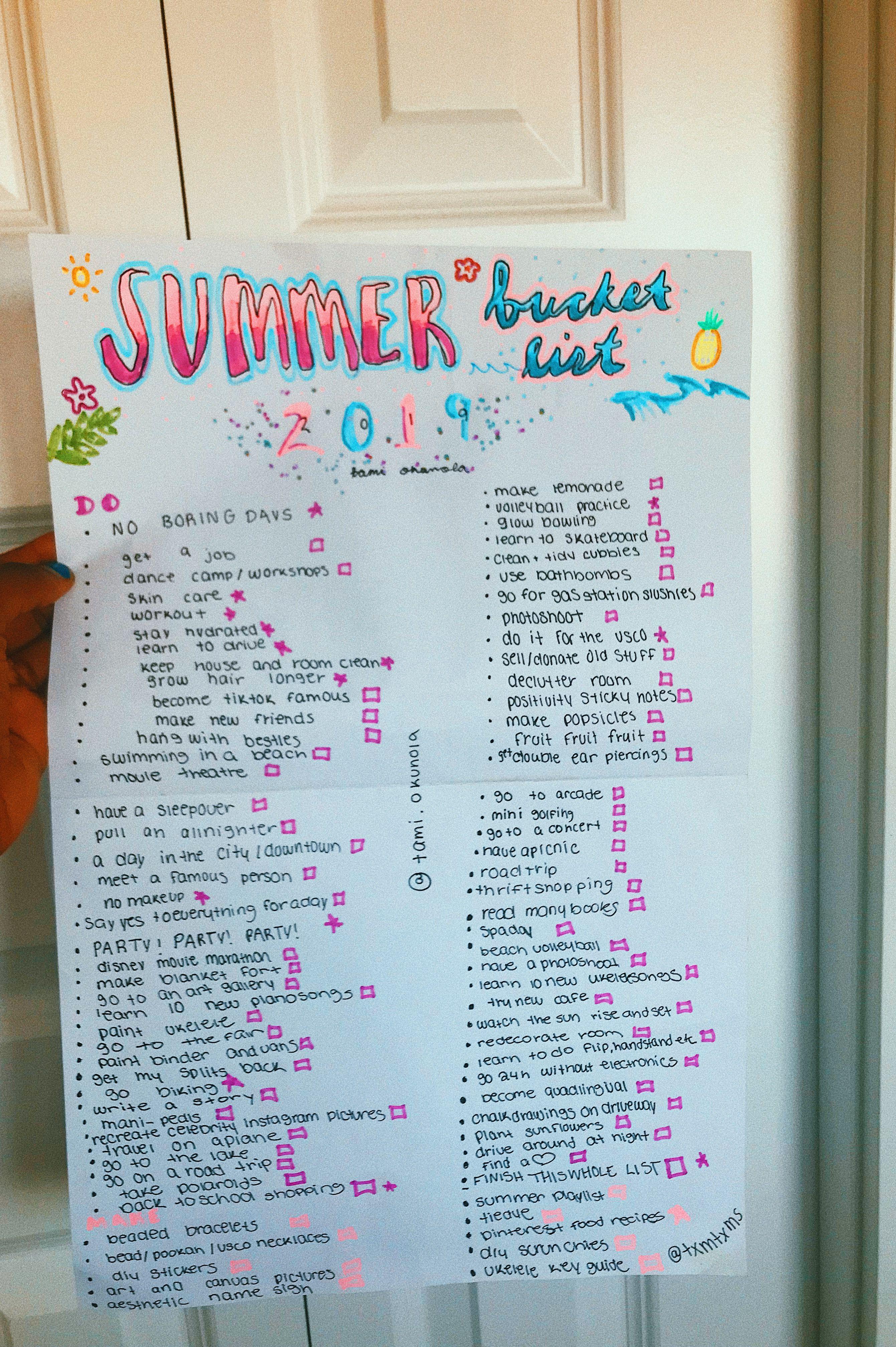 Summer Bucket List Bullet Journal Summer Bucket Summer Bucket Lists Summer Bucket List For Teens