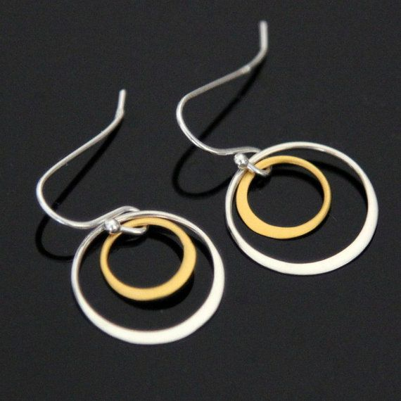 Double CIRCLE Earrings Sterling Silver and Gold by AlexisKJewels, $23.99