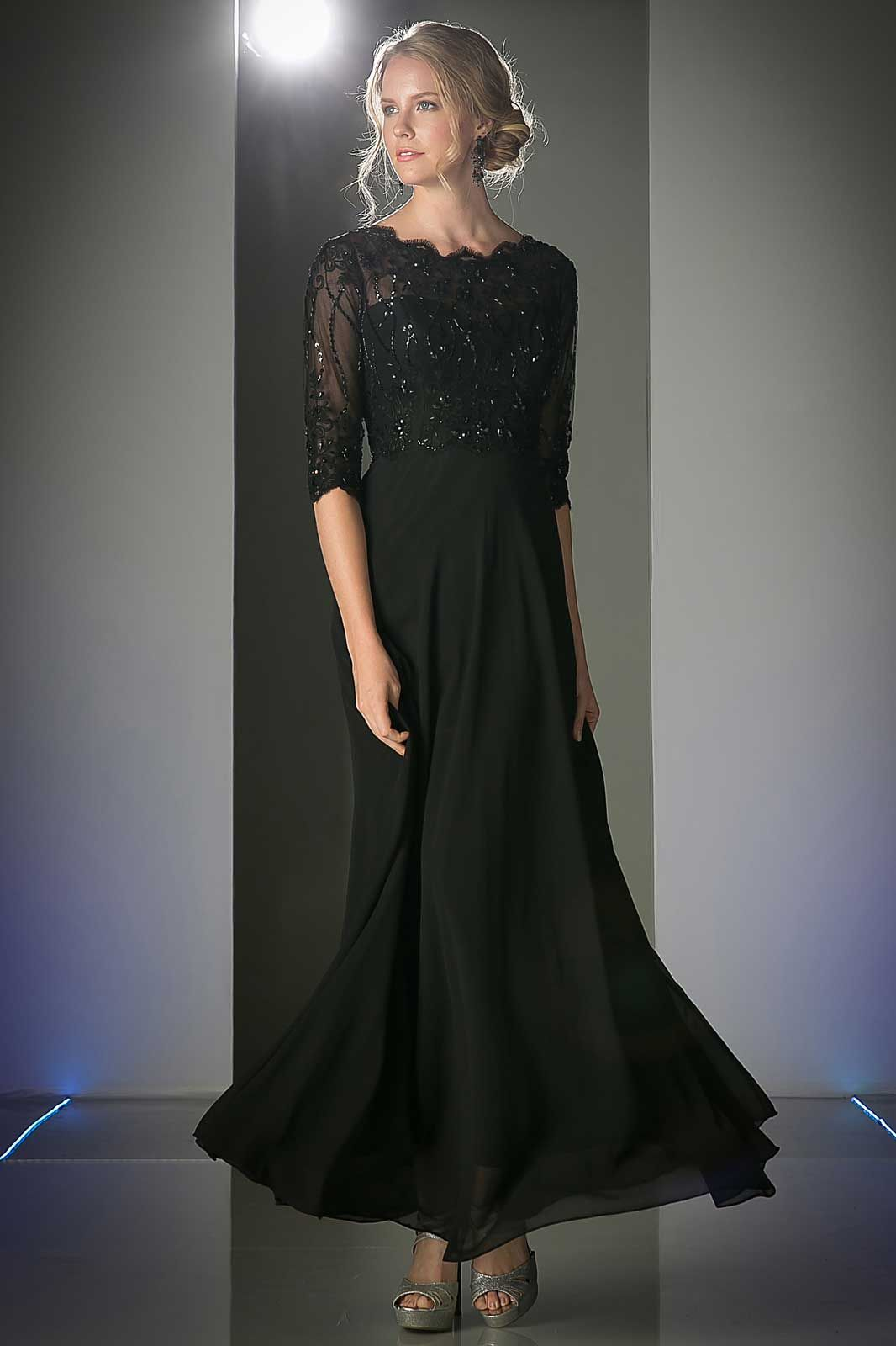Black Long Evening Dress with Beaded Semi Sheer Bodice. A-Line Full ...