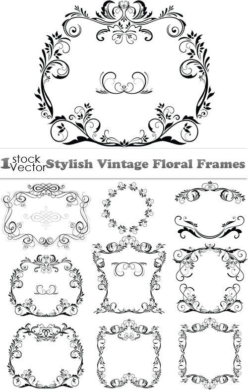 stylish vintage floral frames vector download graphic gfx stock ...