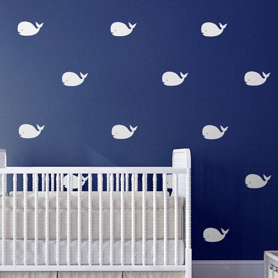 Whale nusery wall decor, nautical wall decals by Jesabi | nursery ...