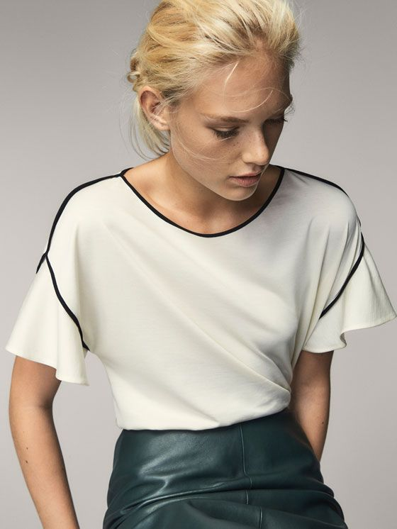 Fall Winter 2017 Women´s T-SHIRT WITH CONTRASTING PIPED SEAMS at Massimo  Dutti for 39.5. Effortless elegance! 6ff826af66