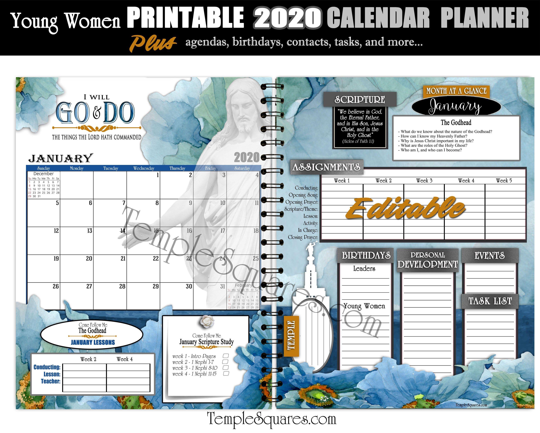 Editable Pdf Yw Presidency Calendar Planner Agendas Cover 2020