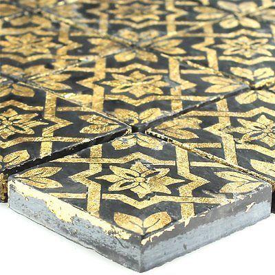 Schiefer Feinsteinzeug Mosaik Fliese Blattgold Schwarz - Mosaik fliesen schwarz matt