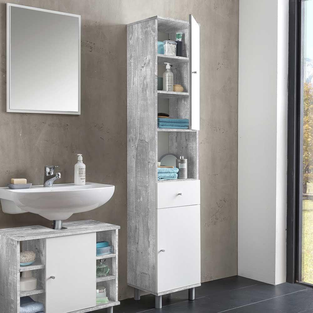 Betonoptik Bad bad hochschrank in weiß grau beton optik 35 cm breit jetzt bestellen