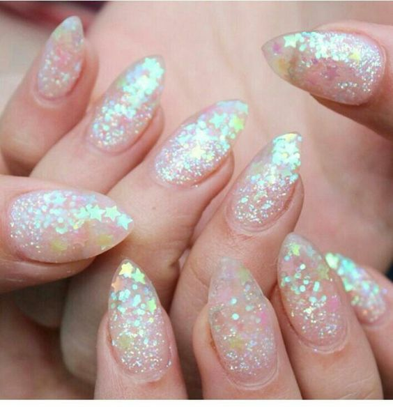 Glittered Nails With Stars Clear Glitter Nails Sparkly Nails Trendy Nails