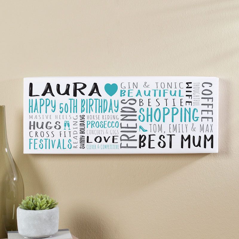 50th Birthday Gift For Her Of Personalised Panoramic Word Art Canvas Print Teal Noir Colour Option Beautiful Gifts To Commemorate A