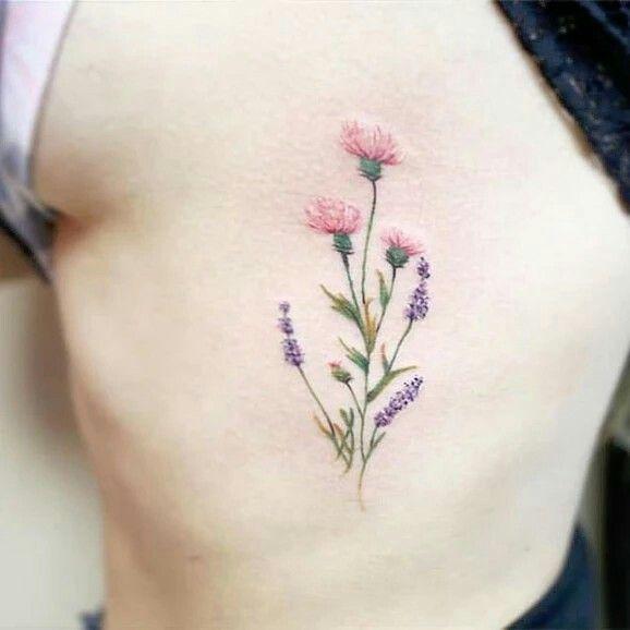 Pastel Flowers Tattoo Dainty Tattoos Carnation Tattoo Lavender Tattoo