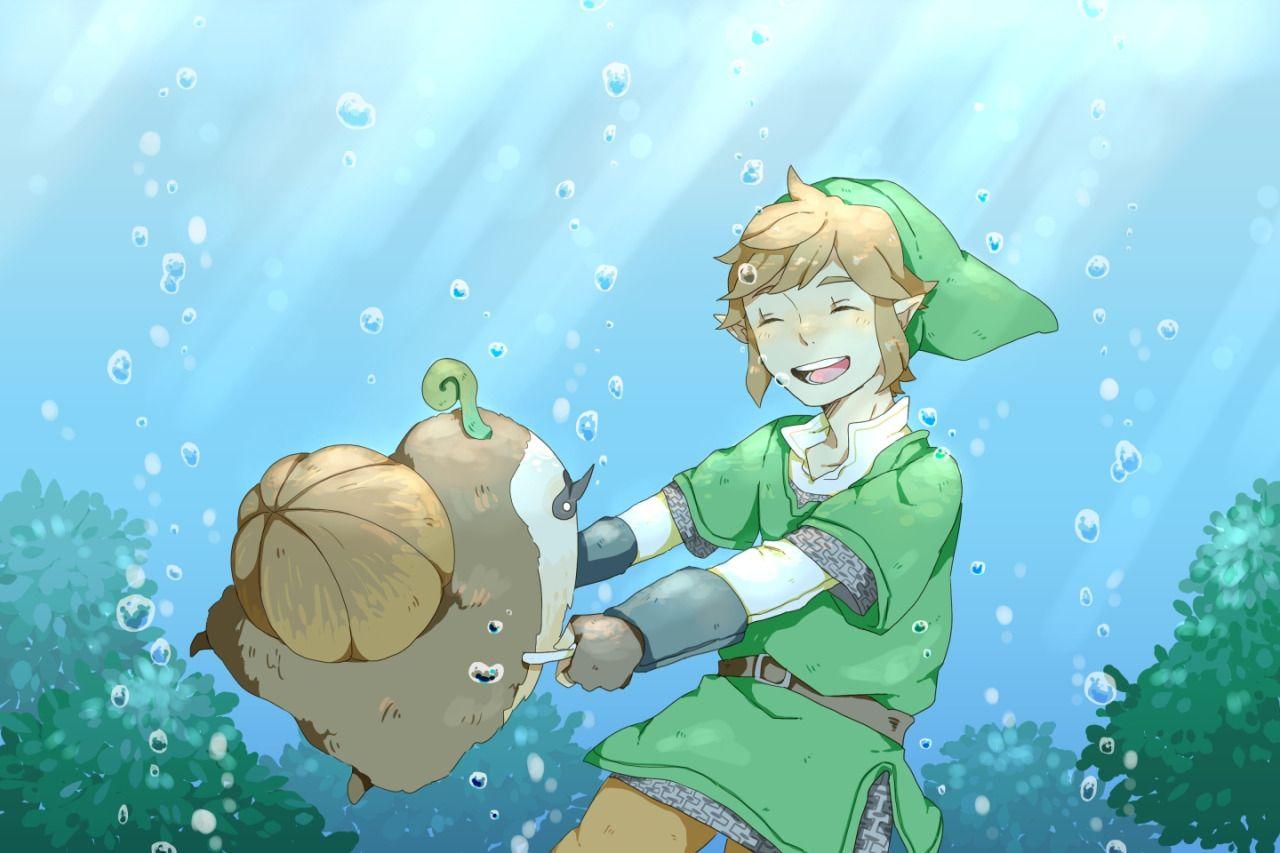 Link & Machi under the water.