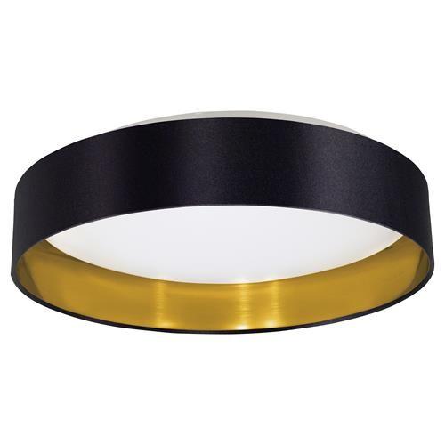 eglo maserlo led glossy black u0026 gold fabric modern flush ceiling light 405mm eglo