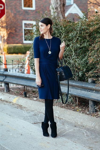 blue dress with boots