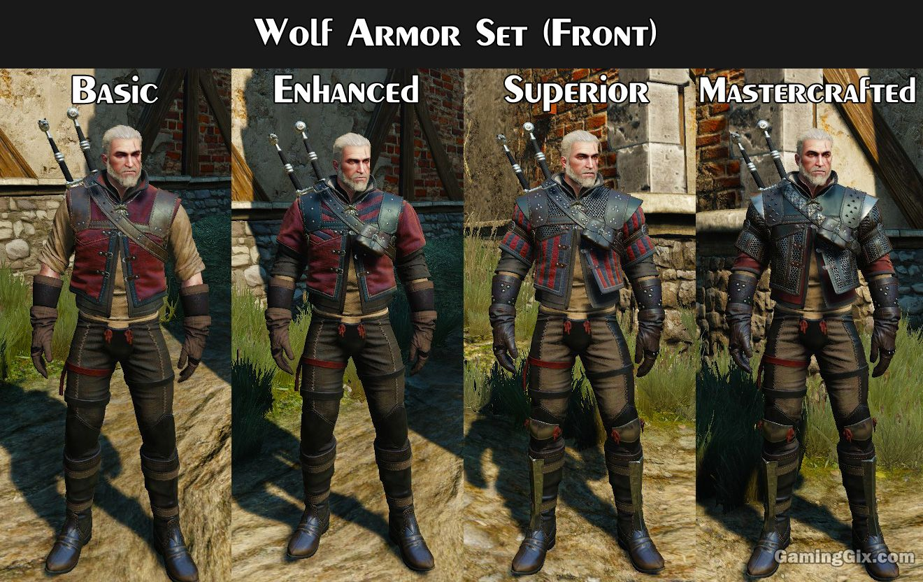 Witcher Armor Set Looks Visual Comparison On Each Tier Witcher Armor The Witcher The Witcher Geralt