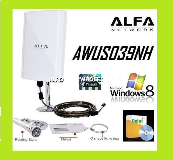 New Alfa Awus039nh 6800mw 98dbi Wifi Antenna Track 5m Cable Beini