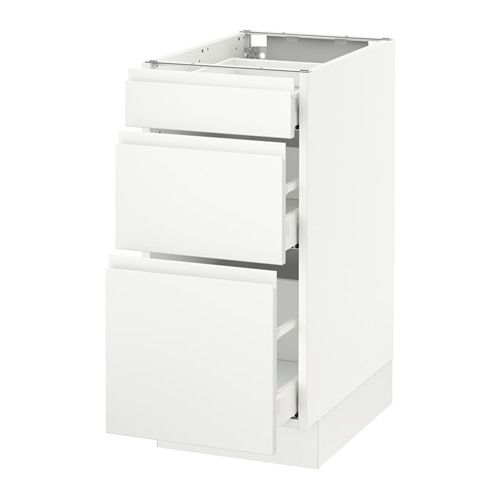 SEKTION Base cabinet with 3 drawers, white Maximera, Voxtorp white white Ma Voxtorp white 15x24x30