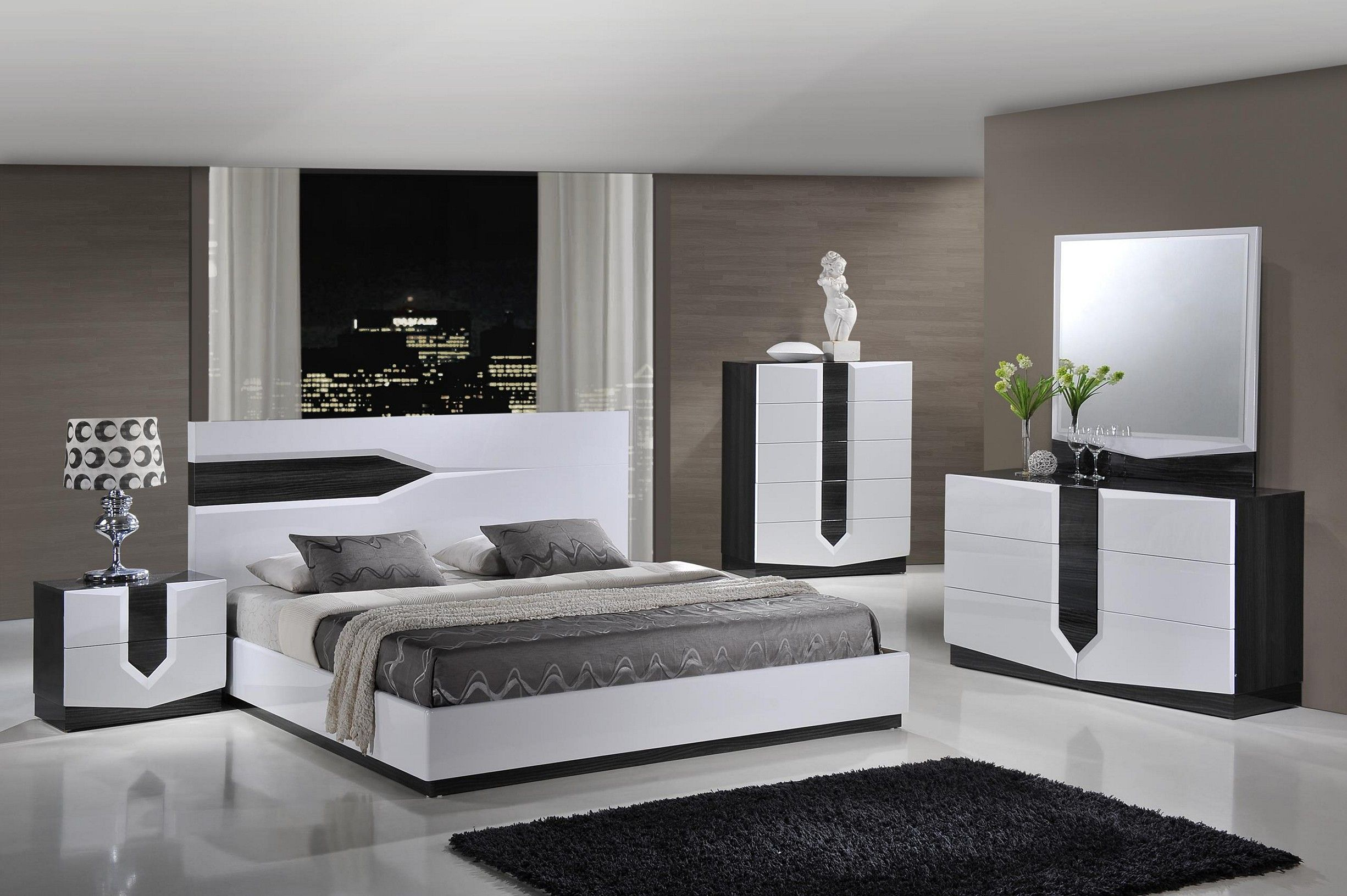 Piece Bedroom Set In Zebra Grey And White High Gloss In
