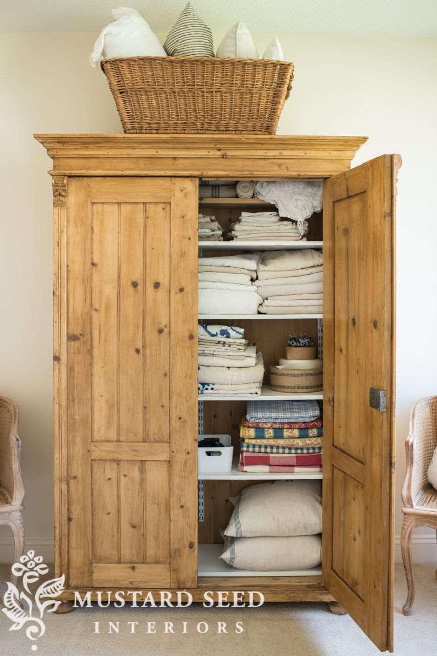 adding shelves to an antique wardrobe Miss Mustard Seed