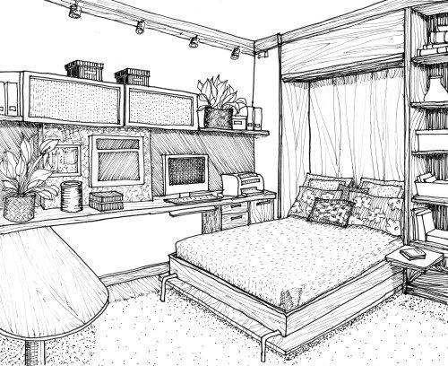 Line Drawing Office Bedroom Desenho De Arquitetura Interior