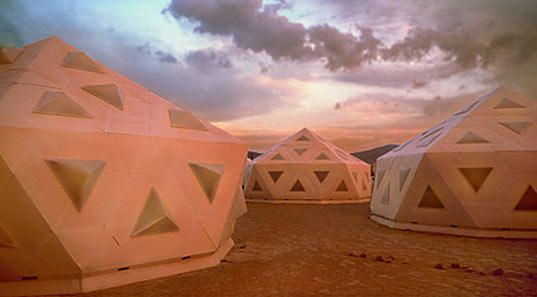 The Icosa Village Pods are easy-to-erect, sci-fi-esque temporary housing designed to be used in emergency situations.
