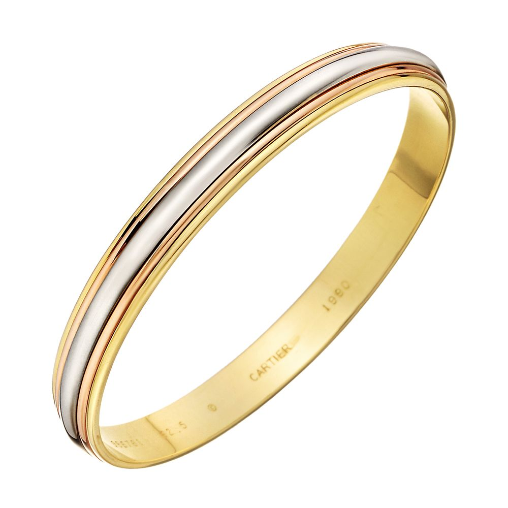 Estate cartier k tricolored gold bangle gems in