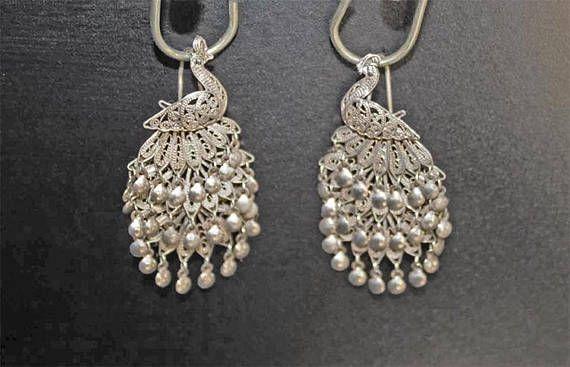 e52cdef22 Vintage Sterling Silver Peacock Earrings Silver Peacock | Etsy Peeps ...