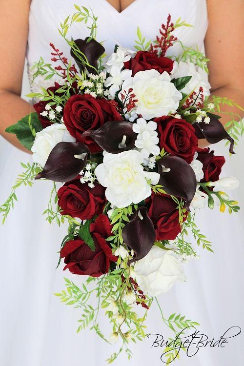Wine Burgundy Calla Lilies Cascading Tear Drop Fake Flowers Wedding